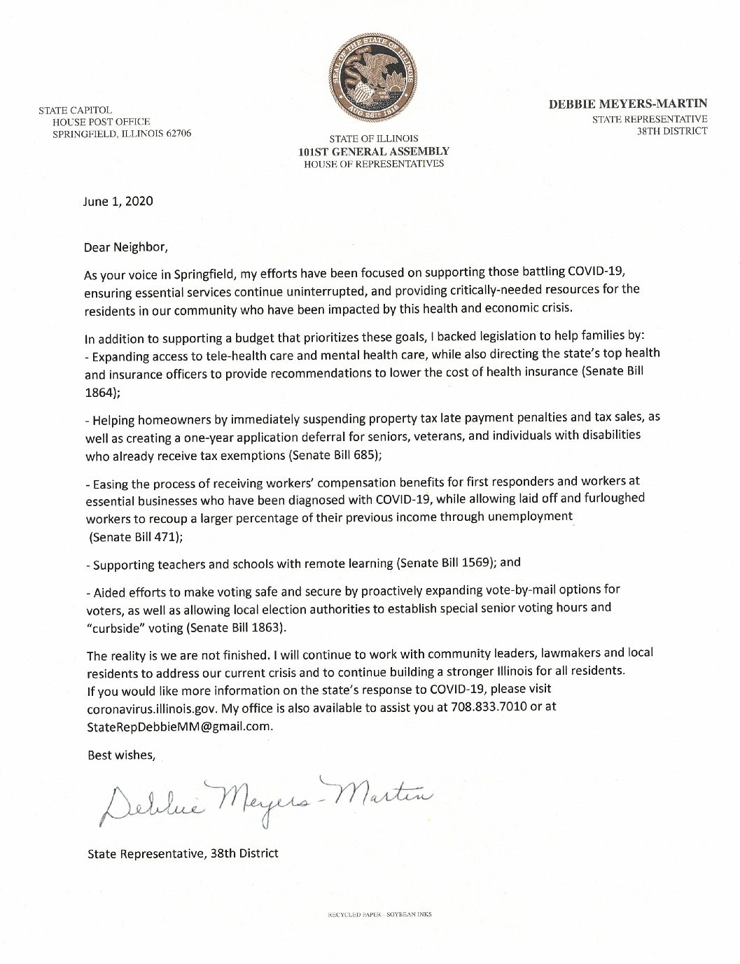 Announcement from Debbie Meyers-Martin