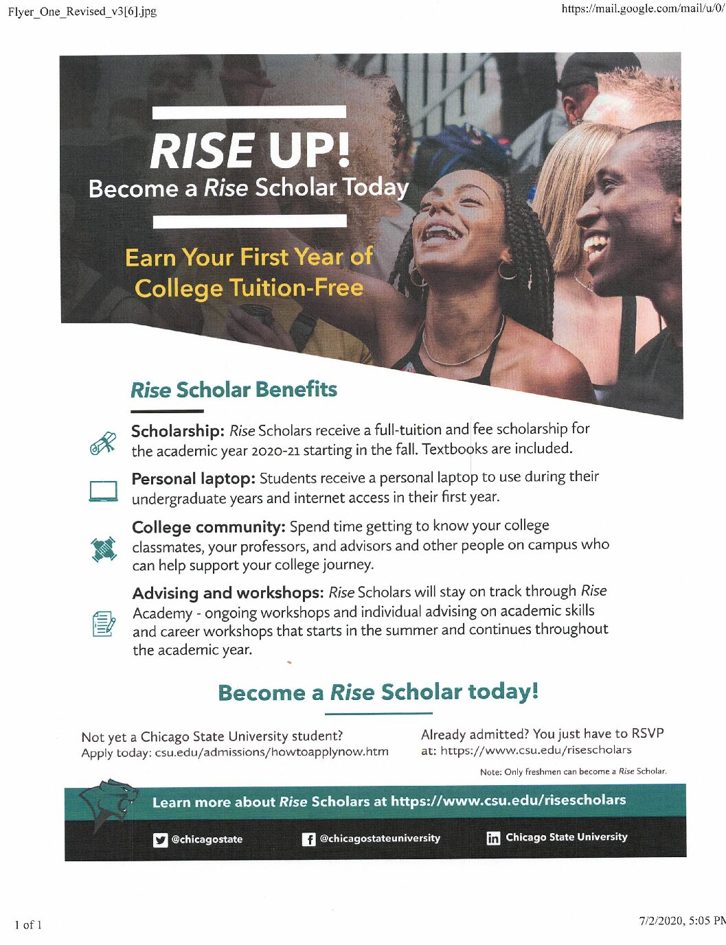 Become a Chicago State University Rise Scholar Today…..