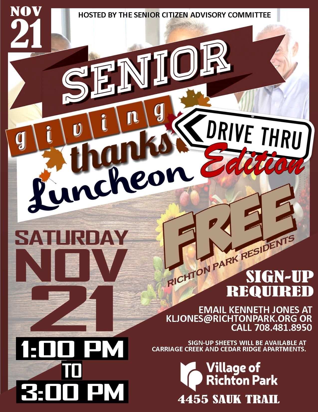 Senior Luncheon Drive Thru Event!!