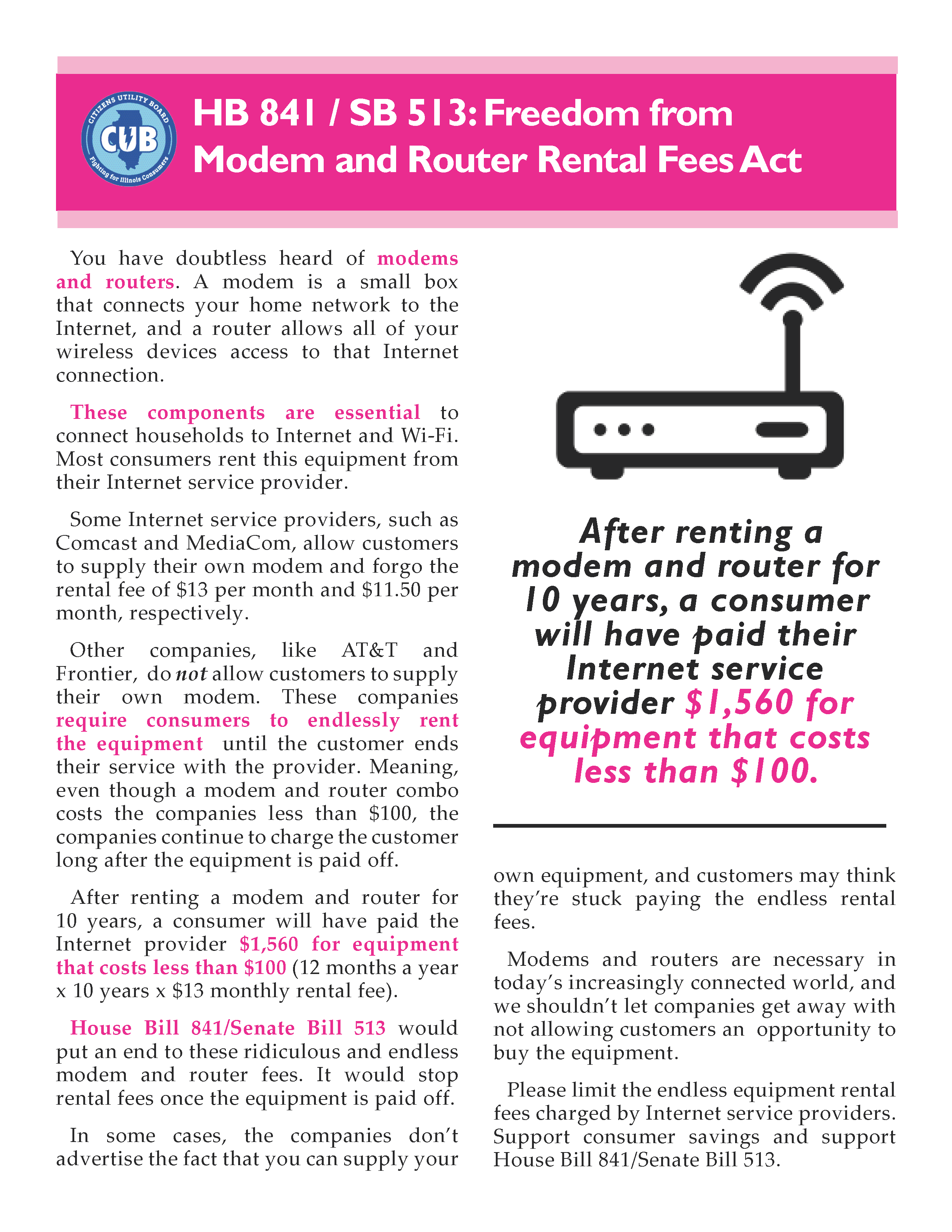 Freedom from Modem/Router Rental Fees Act